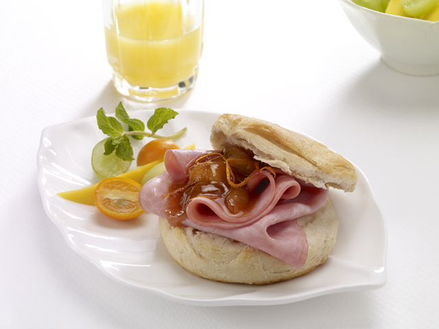 Breakfast Ham Biscuit with Mango Banana Chutney